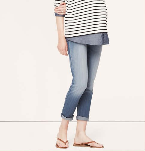 Maternity Relaxed Skinny Jeans | Loft: Surfing Blue, A Mini-Saia Jeans, Blue Wash, Maternity Fashion, Skinny Jeans, Maternity Relaxing, Relaxing Skinny, Maternity Clothing, Layered Ideas