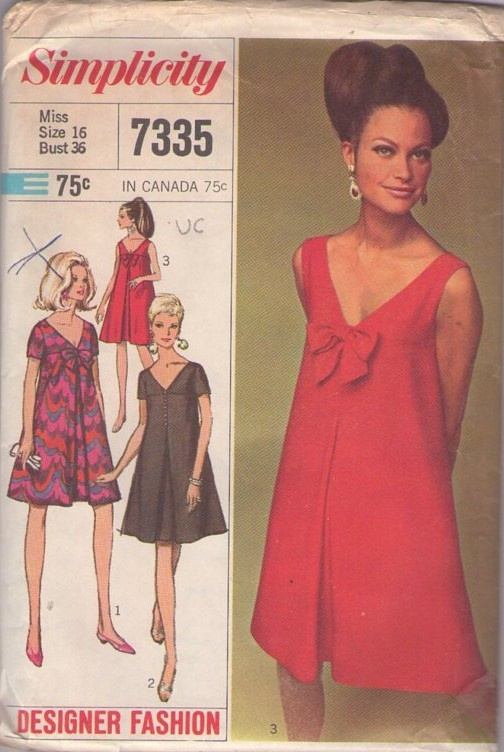 MOMSPatterns Vintage Sewing Patterns - Simplicity 7335 Vintage 60's Sewing Pattern SULTRY Mod Designer Fashion V Neck Empire Yoked Flared Tent Cocktail Party Dress, Audrey Red Carpet High Fashion!