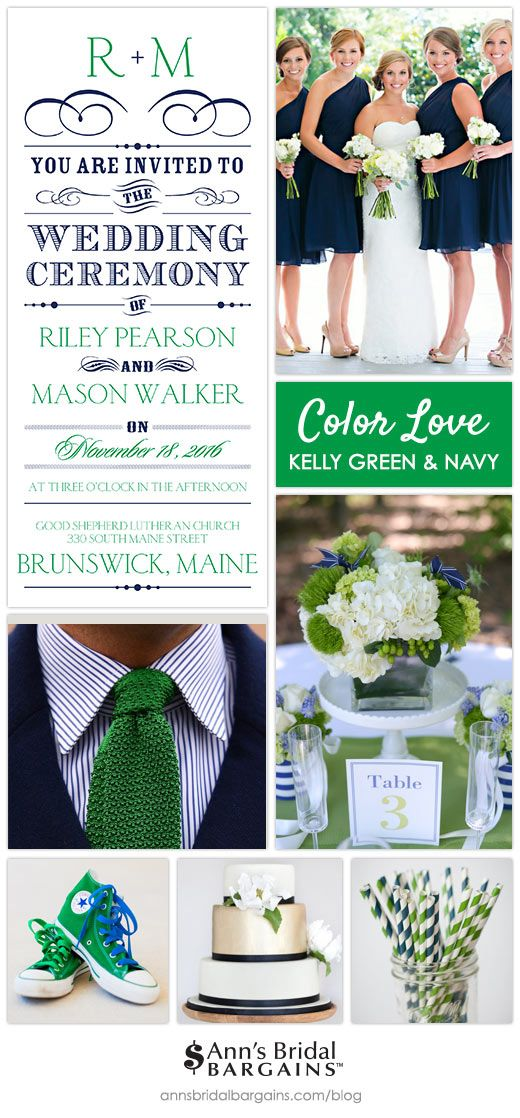 Kelly green is a fun color no matter where or how you use it. Pair it with navy and you've got a winning combination that's cheerful and attractive! Here are a few ideas we love for a kelly green and navy wedding.