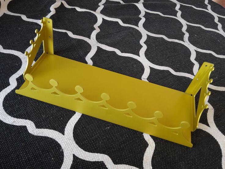 yellow anodised alumininum tiara shelf