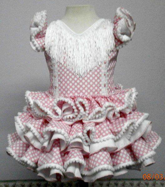 Traje de gitana Jaén popelín rosa lunar blanco - Niñas hasta 5 años - MiBebesito. Ropa de Bebe hecha a mano