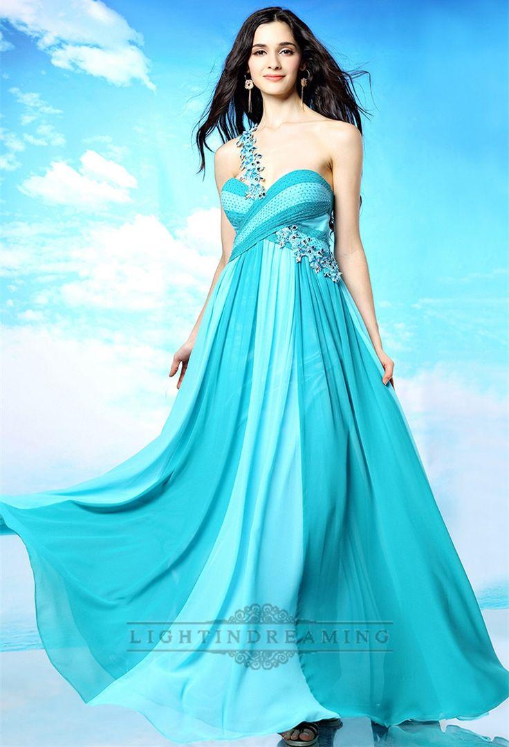 Beaded One-shoulder Sweetheart Criss-cross Ruffled Omber Prom Dresses