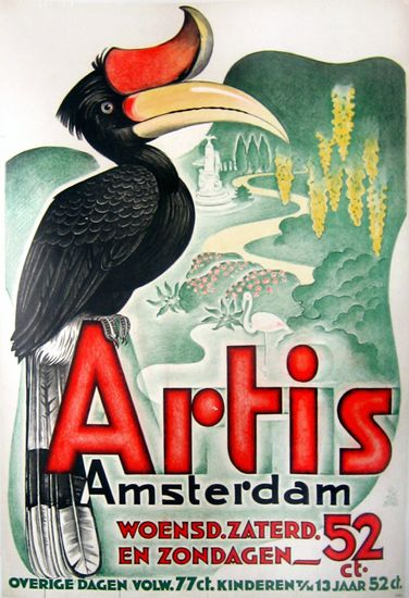 Vintage Illustratie-Affiche-Reclame ~Artis Amsterdam~