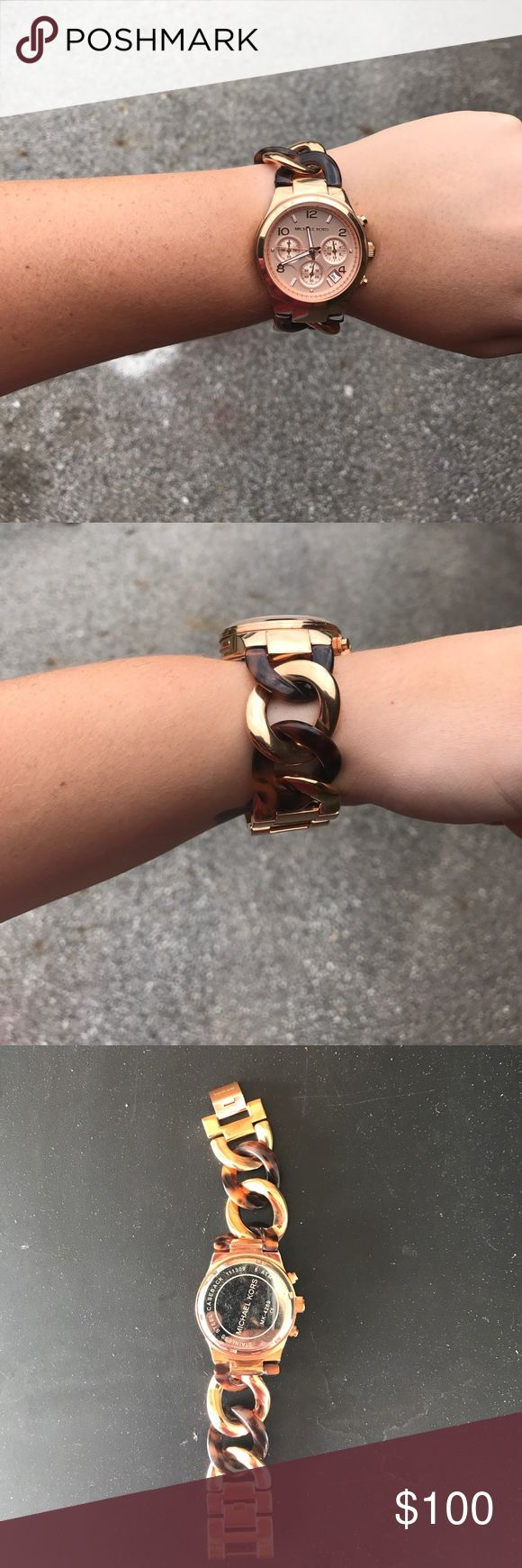 Michael Kors Rose Gold and Tortoise Shell Watch Authentic MK Rose gold and Tortoise shell link watch. Only worn once! Just replaced the battery, works like it is brand new. MICHAEL Michael Kors Accessories Watches