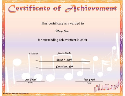 A printable certificate for outstanding achievement in choir, with music notes and a pastel border and title. Free to download and print