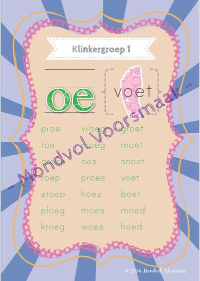 Digitale plakkate oor Klinkergroep 1, beskikbaar op http://teachingresources.co.za/vendors/mondvol-afrikaans/