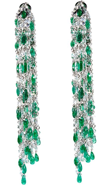 Sidney Garber Emerald Diamond Waterfall Earrings White Gold Consisting Of A Brilliant Cascade 260 Rose Cut Diamonds