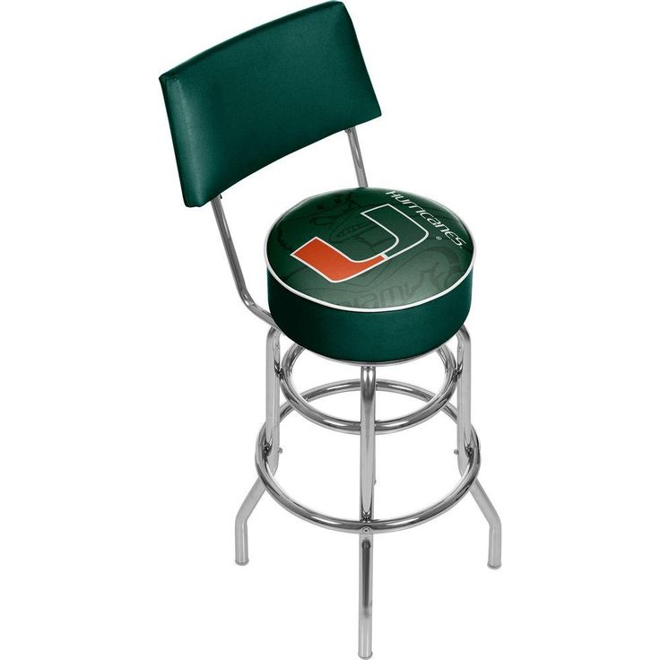 Trademark University Of Miami Fade 31 In Chrome Padded Bar Stool
