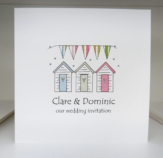 Beach Huts £2.50 The most popular of the styles, this is a classic 'book opening' invitation which features a quirky illustration on the front and opens up to reveal the wedding details inside, which are printed on a separate insert of matching iridescent paper.