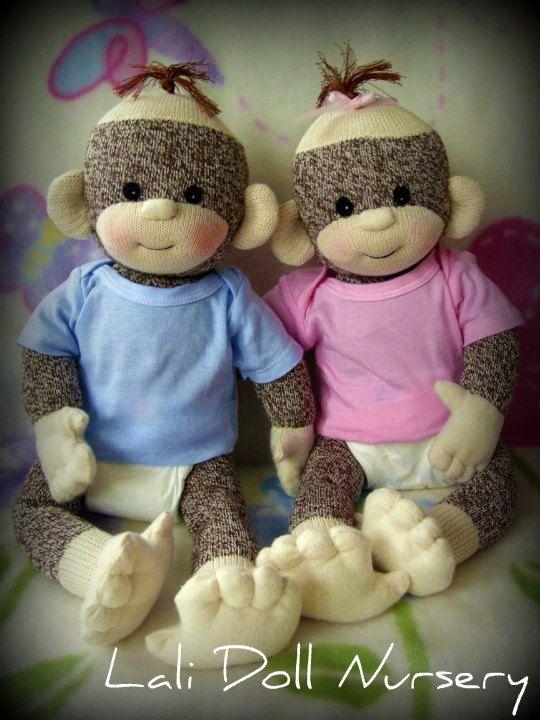 PDF PATTERN Baby Sock Monkey by LaliDolls on Etsy
