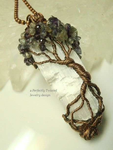 Wire Wrapped Mystic Tree of Life Pendant, Amethyst, Iolite & Labradorite on Selenite, Antiqued Copper Handmade Perfectly Twisted Jewelry