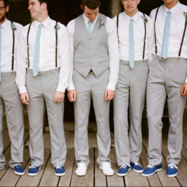 this is what the groomsmen in my wedding will wear. :) maybe a color other than blue..but I love the gray & suspenders & shoes!