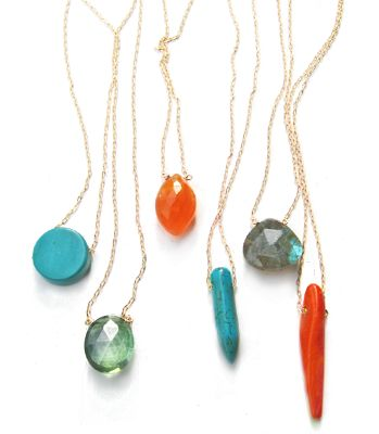 """Single Ladies Labradorite Necklace by minoux, sterling silver 22"""" chain."""