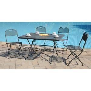 finlandek ensemble table de jardin 120 4 chaises gris hieno achat vente - Salon De Jardin Mtal Color