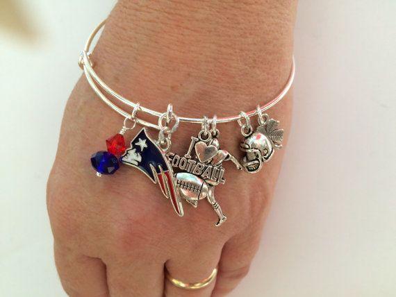 New England Patriots football  !Alex & Anna inspired bangle bracelet ! Patriots bracelet !
