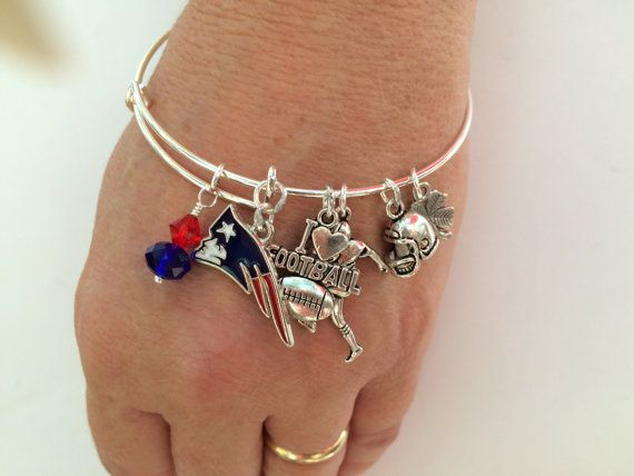 New England Patriots football  !Alex & Anna inspired bangle bracelet ! Patriots bracelet !