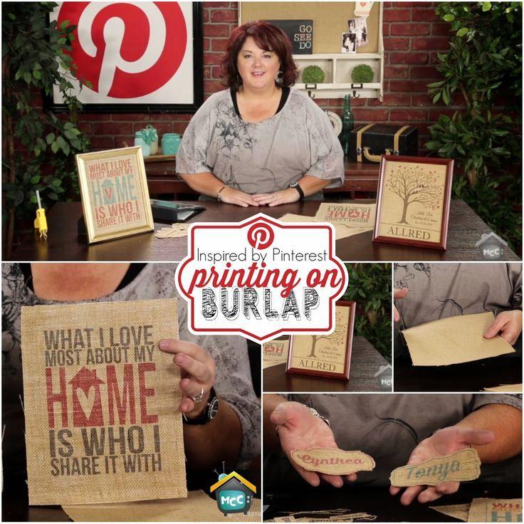 How to print on burlap - Allred Design Blog: Inspired by Pinterest: Printing on Burlap: