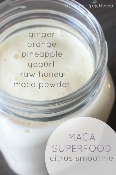Maca Superfood Citrus Smoothie Recipe   GrowingUpHerbal.com -- get more nutrition into your kids without them even knowing it with this delicious kid friendly smoothie