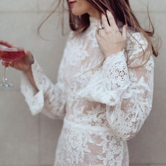 Heavenly lace + windswept hair  Gown by @jason.hewitt