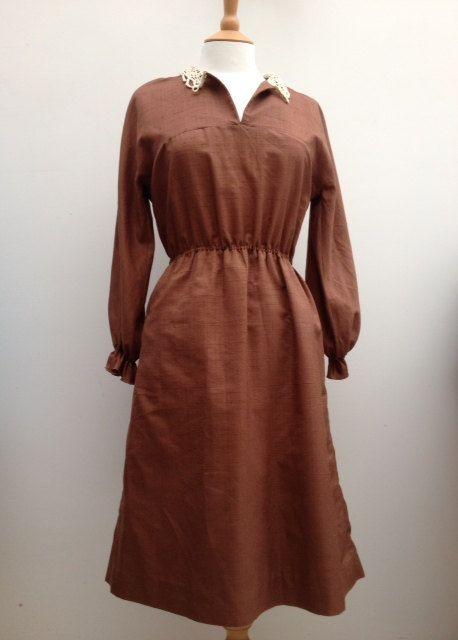 VINTAGE+handmade+brown+tea+dress++Crochet+lace+by+FauxFoxVintage