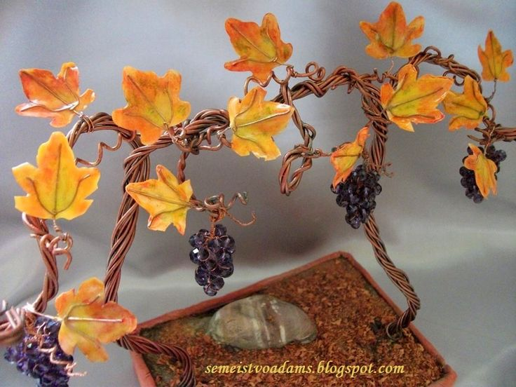 Wire grape bonsai with nail polish, autumn leaves by semeistvoadams.blogspot.com