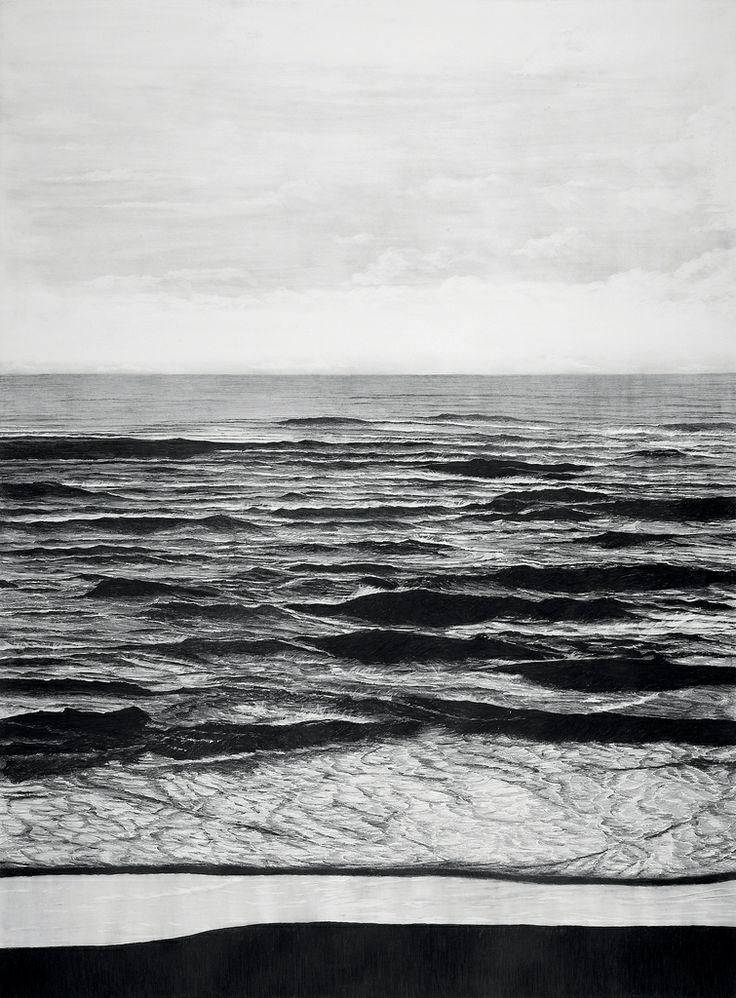 francisco faria - untitled (sea), 2006, graphite on paper, 150 x 120cm. (vague landscape series)
