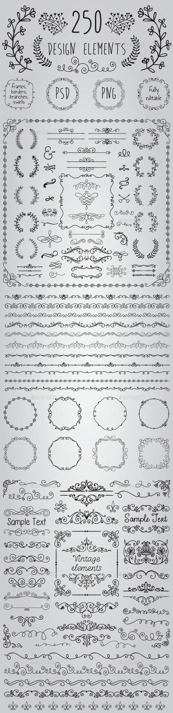 Big Set of 250 Handsketched Design Elements (Transparent PNG, CS, 500x500, 6.9x6.9, banners, black, border, branch, bundle, clipart, congratulation, decoration, drawing, editable, elements, flourish, foliage, foliate, frame, greeting, hand drawn, invitation, laurels, leaves, ornaments, pack, rustic, sketch, wedding)