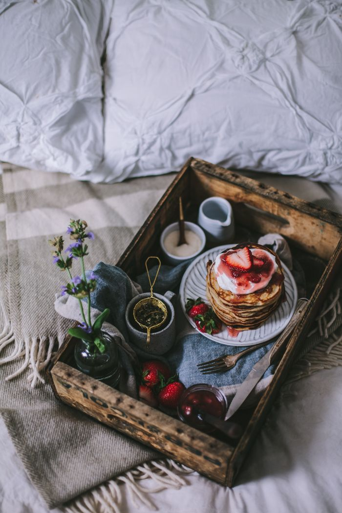 Breakfast in bed for Mother's Day // Goat Cheese Marscarpone Vanilla Bean Pancakes by Eva Kosmas Flores | Adventures in Cooking