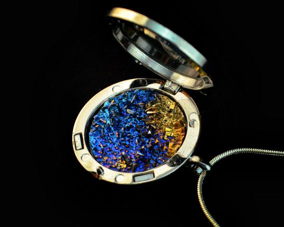 Galaxy in Glass, Large Bismuth Metal Crystal in a Bezel on a Silver plated or Leather Necklace, Fractal, Unique, Artistic Jewelry