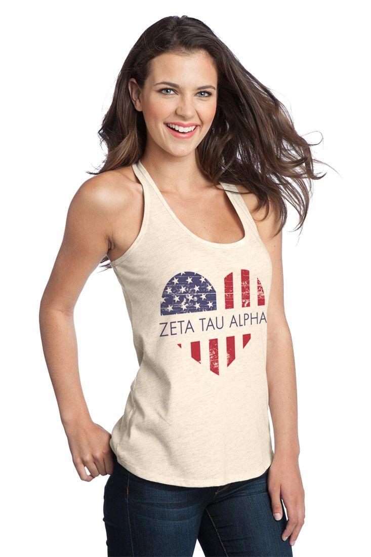 Zeta Tau Alpha USA Flag Heart Juniors T-Back Tank from GreekGear.com