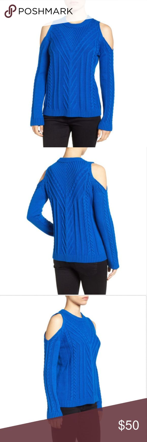 """Vince Camuto Large Cold Shoulder Cable Sweater Vince Camuto  Brand New  Size Large  A cozy cabled crewneck in a cottony-soft knit gets of-the-moment appeal with shoulder-baring cutouts. Cobalt Blue  Crewneck Long sleeves 60% cotton, 40% acrylic or 100% cotton  Measurements  Length~ 26"""" Bust~ 38"""" Sleeve Length~ 16.5"""" Vince Camuto Sweaters Crew & Scoop Necks"""