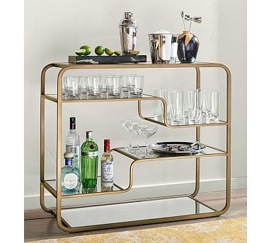 Luxury Antique Silver Bar Cart