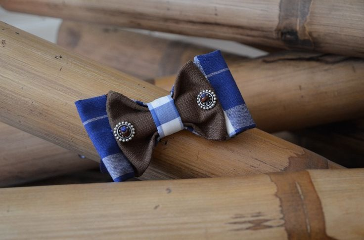 Papillon blu a quadretti con inserto marrone di Papilau su Etsy