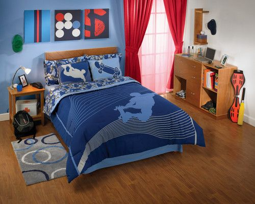New Blue Gray Extreme Skateboard Comforter Bedding Sheet