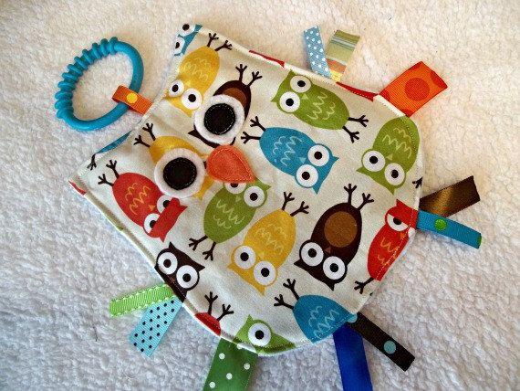 OWL Crinkle Sensory Toy in Urban Owls. $8.50, via Etsy.
