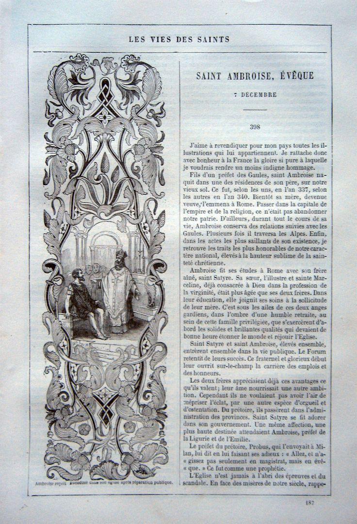 """Saint Ambroise. Stralcio,da """"Les vies des saints"""", De Pillet Imp. Garnier Freres, Paris 1846. In 4°, pagg.8, tre piccole decorative incisioni n.t.: Ambroise recoit Teodosio, Enfance de Saint Ambroise, Ambroise apaisant le peuple. Visualizza traduzione"""