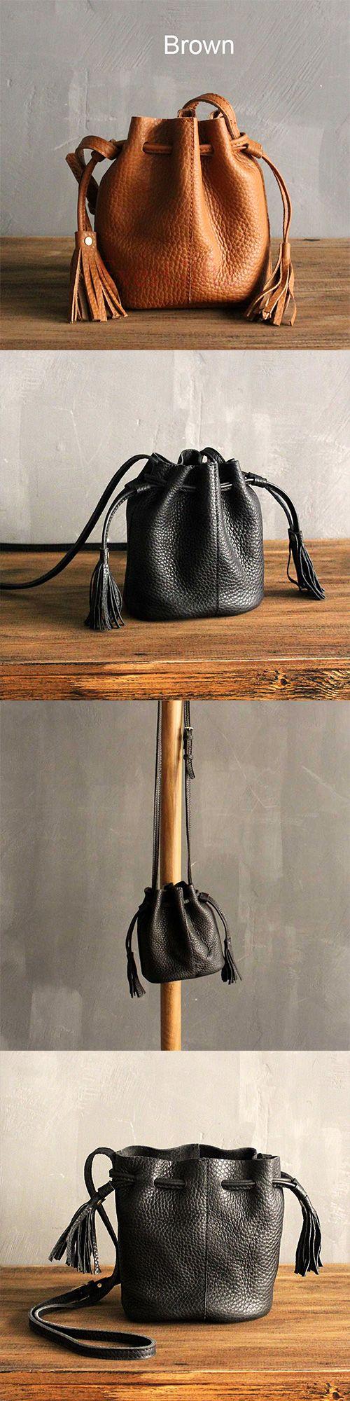 Handmade leather vintage women bucket bag shoulder bag crossbody bag