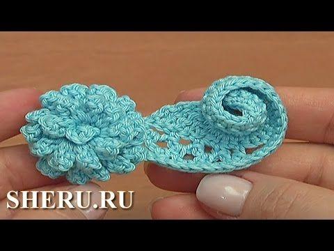 Rizo volumétrica con una flor Lección 56 Cómo Crochet encaje irlandés - YouTube