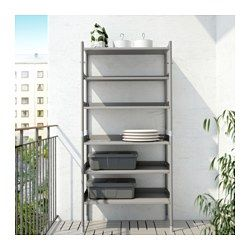IKEA - HINDÖ, Shelving unit in/outdoor, Also stands steady on an uneven floor since the feet can be adjusted.You can adjust the height of the shelves to suit your needs.The shelving unit is durable, easy to clean and protected from rust, as it is made of powder-coated steel.