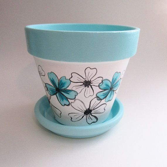 Turquoise Whimsical Flower Terracotta Clay 6 inch Planter