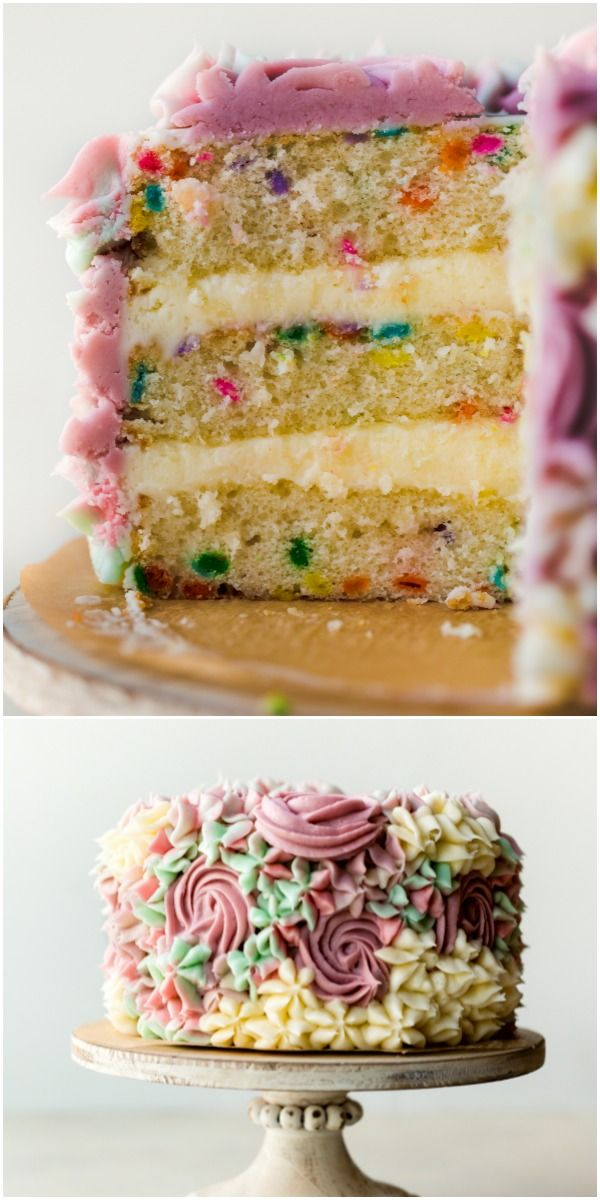 Homemade 6 Inch Funfetti Layer Cake Is Filled With Sprinkles And Decorated With Vanilla Buttercream Cake Filling Recipes Homemade Cake Recipes Cupcake Recipes