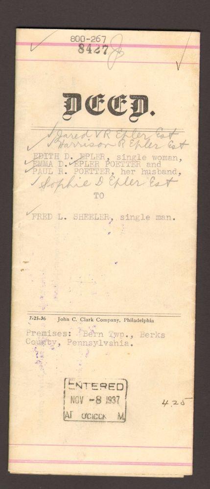1937 Document Deed Bern Township Berks County Pennsylvania PA Epler Poetter