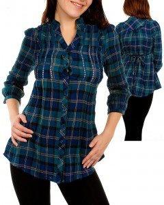 camisa mangas 3/4 escocesa azul
