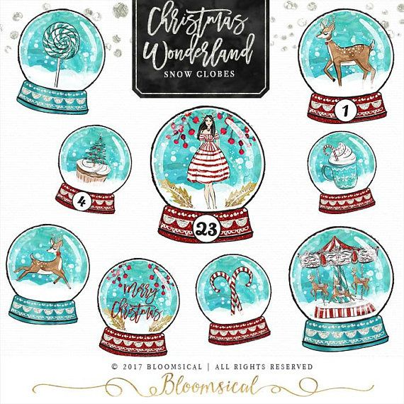 Winter Wonderland Globes Clipart collection:  ♥ 11 globes styles featuring peppermint candies, Christmas tree cupcake, deer, whimsical carousel, Girl in Peppermint pattern dress and antlers, Winter foliage, peppermint drink. ♥ 24 numbers overlay option perfect for Christmas count down + 1