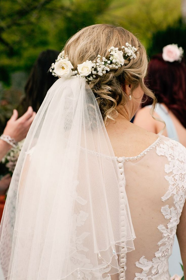 Hair Bride Bridal Flowers Veil Pretty DIY Pink Village Hall Countryside Wedding http://www.jobradbury.co.uk/
