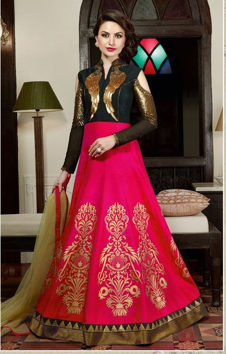 Semi Stitched Pink,Black #Silk #Floor Length #Anarkali #Suit #nikvik  #usa #designer #australia #canada #freeshipping