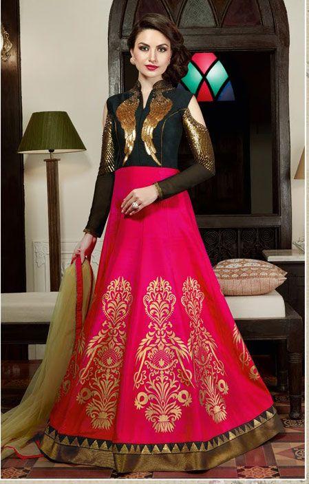Semi Stitched Pink,Black #Silk #Floor Length #Anarkali #Suit #nikvik  #usa #designer #australia #canada #freeshipping