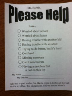 School Counselor - McNair Elementary - counseling request form - pib - http:// www.schoolcounselor.info/2011/09/help-is-on-way.html