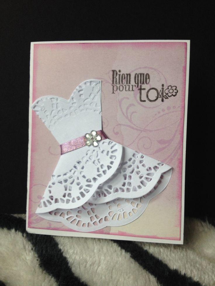Carte fête des meres bonne fete maman love mauve robe dentelle 3D relief scrapbooking : Papeterie, carterie par boite-a-crea-pas-cher