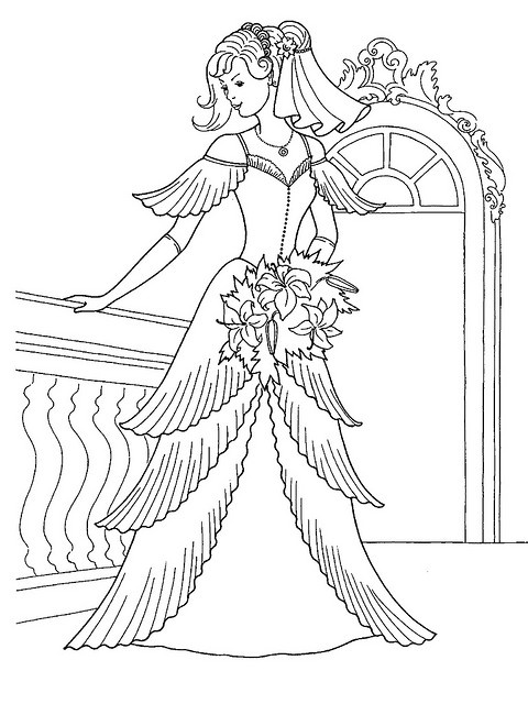Princess In Her Wedding Dress Coloring Page By Ktsaltishok Via Flickr Barbie PagesPrincess